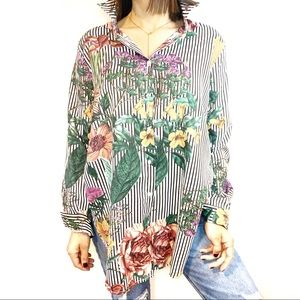 Tops - Oversized Floral-Stripe Combo Button-up